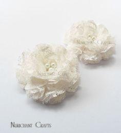 Off White Flower Embellishments White Flower by NurichantCrafts, $8.50