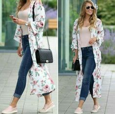 If you are in a Kimono mood; then meet your layering match with these incredible floral kimono jackets. Kimono Cardigan Outfit, Cardigan Outfit Summer, Mode Abaya, Mode Hijab, Mode Chic, Mode Style, Girly Outfits, Chic Outfits, Kimono Fashion