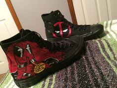 Custom Pair Of Deadpool Adult Converse by ArtScribbles on Etsy… Custom Converse, Custom Shoes, Pullover Shirt, Converse All Star, Women's Converse, Hand Painted Shoes, Types Of Shoes, Sneakers, Deadpool Outfit