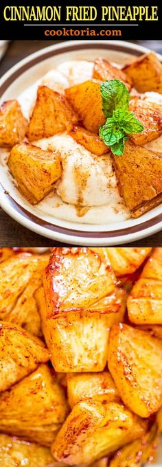 - Try this simple, yet scrumptious Cinnamon Fried Pineapple. It requires just a fe… Try this simple, yet scrumptious Cinnamon Fried Pineapple. It requires just a few common ingredients and only 10 minutes of your time. Spicy Recipes, Fruit Recipes, Soup Recipes, Chicken Recipes, Dessert Recipes, Cooking Recipes, Healthy Recipes, Dinner Recipes, Drink Recipes