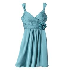Women's Satin V-Neck Bridesmaid Dress with Removable Flower Fashion Colors - TEVOLIO™