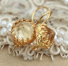 citrine Gold drop earrings Yellow topaz champagne  by iloniti