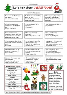 about Christmas- Conversation cards - Learn and improve your English language with our FREE Classes. Call Karen Luceti or email kluceti@ to register for classes. Eastern Shore of Maryland. English Resources, English Activities, English Tips, English Lessons, Learn English, French Lessons, Spanish Lessons, Learn French, English Vocabulary