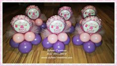 Sweet Polka Dot & Chevron it's a girl baby shower centerpieces with tulle  #anagram #balloons #It'sagirl #BabyShower #InfanteCreations