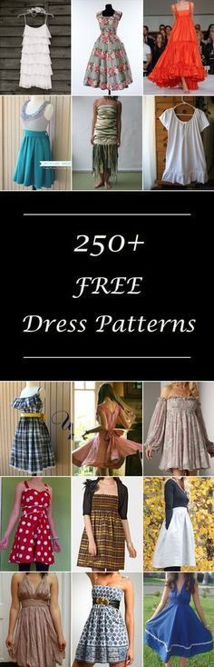 Lots of free dress patterns for women. Many simple & easy designs.