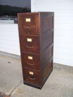 Antique Quarter Sawn Oak 4 Drawer File Cabinet Doctor's Lawyer's Office Mission | eBay