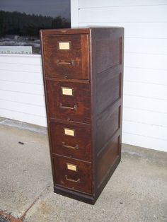 Antique Quarter Sawn Oak 4 Drawer File Cabinet Doctoru0027s Lawyeru0027s Office  Mission | EBay