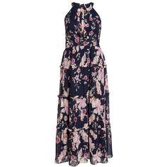 Plus Size Women's Eliza J Floral Ruffle Trim Chiffon Halter Maxi Dress (1,125 CNY) ❤ liked on Polyvore featuring dresses, women plus size dresses, maxi dresses, floral maxi dress, plus size holiday dresses and plus size dresses