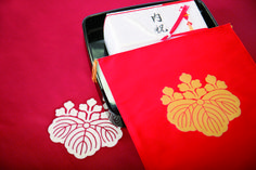 """In """"Yuino"""" traditional ceremony, This """"Fukusa"""" ,a kind of Furoshiki, cover with largesse to bride's parents. And this emblem in the central of Fukusa means family crest. We can find famous family crests in Japanese history. ©Miyai http://www.miyai-net.co.jp/ learn more; our issue no.14"""