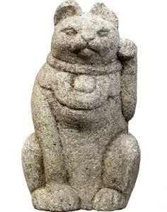 Maneki Neko - Hand Carved Stone. Circa Early to Mid-20th Century.