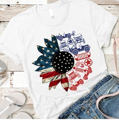 Jeep Tattoo, Jeep Clothing, Jeep Gear, Jeep Shirts, Sunflower Shirt, Jeep Rubicon, Jeep Accessories, 4th Of July Outfits, Jeep Truck