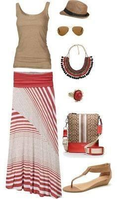 Red and white maxi skirt with a tan tank top