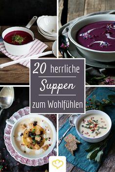Nichts wärmt an kalten Tagen so schön wie eine warme Suppe. Mit diesen 20 kreativen Rezepten von deutschen Food Bloggern wird's garantiert niemals langweilig in der Suppenschüssel! Ham Chowder, Soup Recipes, Healthy Recipes, Low Carb Lunch, Happy Foods, Soups And Stews, Cooking Time, I Foods, Food Porn