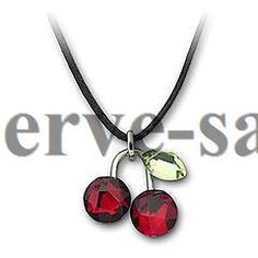 Swarovski Crystal Fruity Cherry Mini Pendant 891634 with Rhodium-plated
