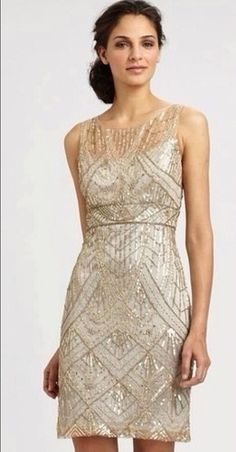 babd3c227f1 Bozena s Sue Wong 1920 s Deco Champagne Silver Beaded Sequin Cocktail  Evening Dress Champagne Cocktail Dress