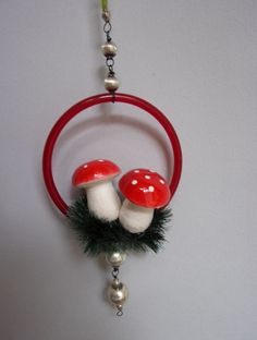 """VINTAGE SPUN COTTON MUSHROOMS IN A GLASS RING CHRISTMAS TREE ORNAMENT SIZE : approx 2-1/2"""" by 4"""" (W/O HANGER) Czechoslovakia 1950's. Item located in PRAGUE, Czech Republic. Sold for $13.05 in 2015. Bohemian Christmas, Wonderful Things, Christmas Tree Ornaments, Spinning, Spun Cotton, Stuffed Mushrooms, Glass Ring, Prague Czech, Czech Republic"""