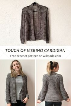 Make this simple and easy crochet cardigan with my free pattern on. This cardigan is made with chains and double crochet stitches. Crochet Jacket Pattern, Crochet Stitches Patterns, Crochet Shawl, Easy Crochet, Free Crochet, Tutorial Crochet, Double Crochet, Crochet Woman, Crochet Clothes