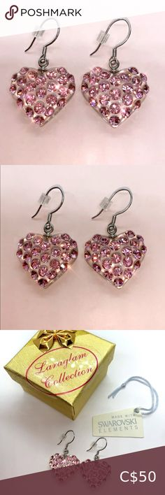 COPY - Heart Earrings Pink Swarovski Crystal Acry… Acrylic pink Swarovski® crystal heart dangle earrings. Hand crafted on a heart shaped transparent lucite, while embellished with baby pink Swarovski® crystal stones. These elegant earrings are made with 925 sterling silver hook backings, lead and nickle free and are perfect for sensitive ears. Lightweight, easy to wear, comfortable, and look amazing when worn. Makes a perfect gift idea. Luxury gift box and certificate of authenticity…