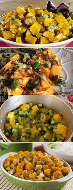 CUBINHOS DE ABÓBORA COM QUIABO, TUDO DE BOM!!! VEJA AQUI>>>Ponha a abóbora em um refratário e cozinhe no microondas por 5 minutos.  #receitas#salgadas#tortas#empadão#massas#lanches#carne#frango#peixe