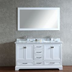 "Stufurhome 60"" Newport White Double Sink Vanity with Mirror The Newport White 60"" Double Sink Vanity Set by Stufurhome is undoubtedly a timeless piece of furniture that has been hand-carved out of top"