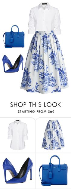 """White and blue"" by aline-brodbeck on Polyvore featuring moda, Steffen Schraut, Chicwish, Stuart Weitzman e Yves Saint Laurent"