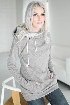 Wonen Heather Grey Double Hooded Sweatshirt https://www.modeshe.com