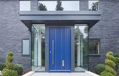 Rondo V pivot door in ral blue with option 11 Garage Door Windows, Garage Door Styles, Garage Door Design, Front Door Canopy, Front Door Decor, Exterior Doors, Entry Doors, Entrance, Exterior Houses