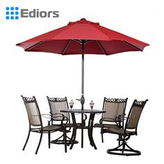Ediors Deluxe Ivory 9 Ft Cantilever Hanging Patio Umbrella Freestanding Outdoor Parasol Adjustable Market Umbrella Black Aluminum Pole 250gsqm Polyester Red >>> Be sure to check out this awesome product.