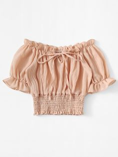 Shop Flounce Sleeve Frill Trim Smocked Blouse at ROMWE, discover more fashion styles online. Teen Fashion Outfits, Look Fashion, Outfits For Teens, Trendy Outfits, Girl Fashion, Fashion Dresses, Cute Outfits, Indian Blouse Designs, Smocks