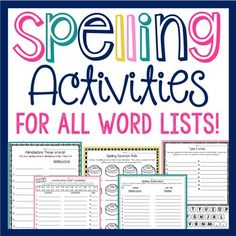 SPELLING PRACTICE ACTIVITIES for ALL WORDS LISTS and NO PREP! This pack makes spelling practice FUN for students and EASY for you! This is a complete set of over 30 activity sheets (more continue to be added) where students get to practice learning their spelling words in a fun, interactive way!