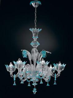Lustre 6 lumierès Topdomus Veneziano cristal et bleu ciel authentique de Murano