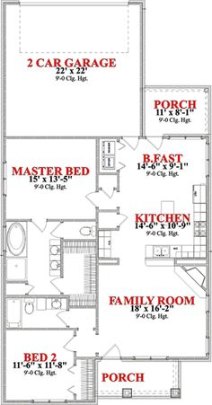Find your dream bungalow style house plan such as Plan which is a 1367 sq ft, 2 bed, 2 bath home with 2 garage stalls from Monster House Plans. House Plan With Loft, Narrow Lot House Plans, Small House Floor Plans, Bungalow House Plans, Craftsman Style House Plans, Ranch House Plans, Best House Plans, Craftsman Cottage, Modern Bungalow