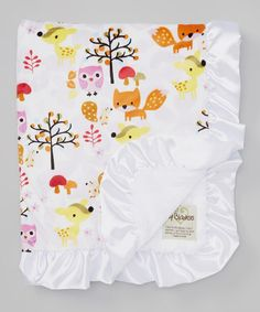 Take a look at this White Foxy Velour Satin Ruffle Trim Stroller Blanket by My Blankee on #zulily today!