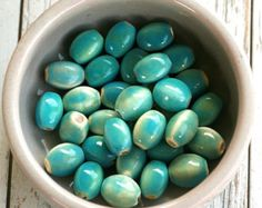 12mm Beads, Aqua Beads, Porcelain Beads, Oval Beads, 6 Shiny Ceramic Beads, Blue and Yellow Beads, Large Hole Beads, Bead Supplier, Crafts