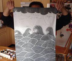 Waves tea towel | Aldea Wood