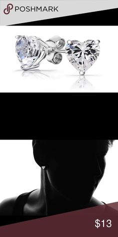 925 Sterling Silver 2 CTW Swarovski Heart Earrings Crystal type: Swarovski Elements crystal. Total number: 2. Treatment: created. Metal: sterling silver. Finish: polished. Butterfly back closure. Product dimensions: 6mm x 6mm. Package : A pair of earrings. SKU : JW00000099. AamiraA Jewelry Earrings