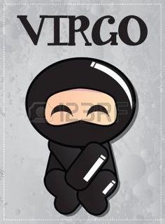Segno zodiacale Vergine con cute ninja nero carattere, vettore photo