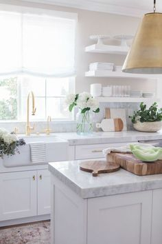 ALL white kitchen with gold Like the thickness & profile of the counters