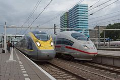 Siemens Velaro Emu's, Eurostar e320 (on the left) 320 km/h and DB ICE 3 (on the right) 330 km/h at Arnhem Station