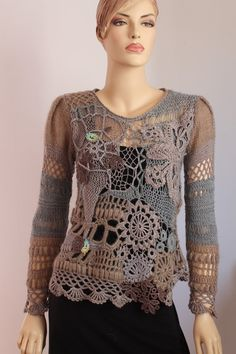 Custom order for alkeheilmann Art to wear Freeform Crochet Knitting Sweater - Wearable Art - OOAK - Size M Freeform Crochet Knitting Sweater Wearable Art by levintovich Art Au Crochet, Moda Crochet, Freeform Crochet, Irish Crochet, Crochet Stitches, Knit Crochet, Knitting Patterns, Crochet Patterns, Crochet Blouse