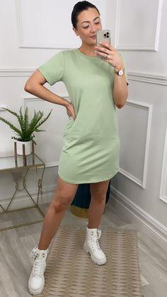 Green shift dress, shift dress, green mini dress, mini dress, t-shirt dress, green dress Online Boutiques, Shirt Dress, T Shirt, Fashion Online, Green, Cuffs, Short Sleeves, Tunic, Amp