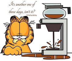 So sleepy, forgot to move the coffee pot. Garfield Cartoon, Garfield Quotes, Garfield And Odie, Garfield Comics, I Love Coffee, Coffee Art, My Coffee, Garfield Pictures, Funny Pictures