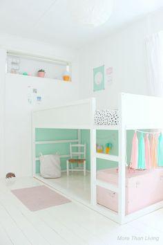 Kids room paint kura bed 55 Super Ideas - Home Decor Ikea Kura Bed, Kura Bed Hack, Ikea Loft Bed Hack, Kids Room Paint, Girl Bedroom Designs, Little Girl Rooms, Kids Room For Girls, Bed Ideas For Kids, Cool Rooms For Kids