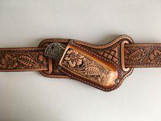 Etui, pochette en cuir repoussé pour couteau pliant, motif: floral : Etuis, mini sacs par lakota-cuir
