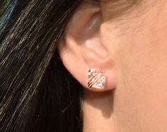 Medium Herkimer Diamond Studs  in Rose Gold Sterling by PURYST