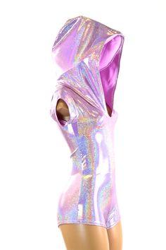 Lilac Purple Holographic Cap Sleeve Hoodie Romper