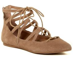 Steve Madden Bambina Lace Flat (€63) ❤ liked on Polyvore featuring shoes, flats, nat suede, ballet shoes, strap ballet flats, ballerina flats, strappy flats and lace flats