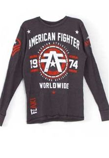 American Fighter Nova Long Sleeve T-Shirt in Charcoal