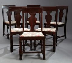 Set Of Six American Empire Revival Carved Mahogany Dining Chairs Early 20th C