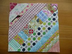 string quilt tutorial; this would look super cute with alternating blocks making a zigzag pattern :0)